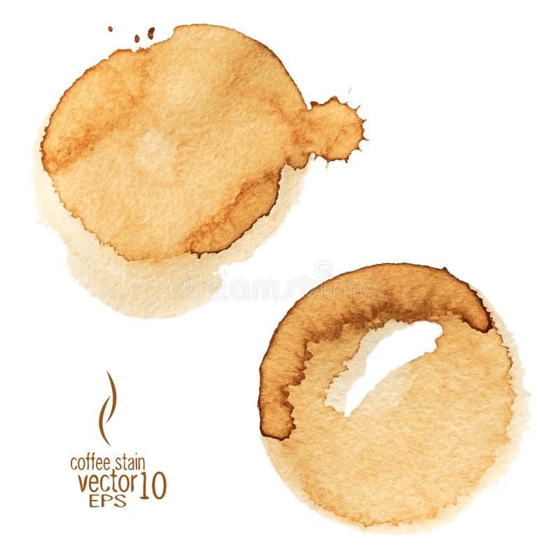 De waterverfvector van de koffievlek stock illustratie