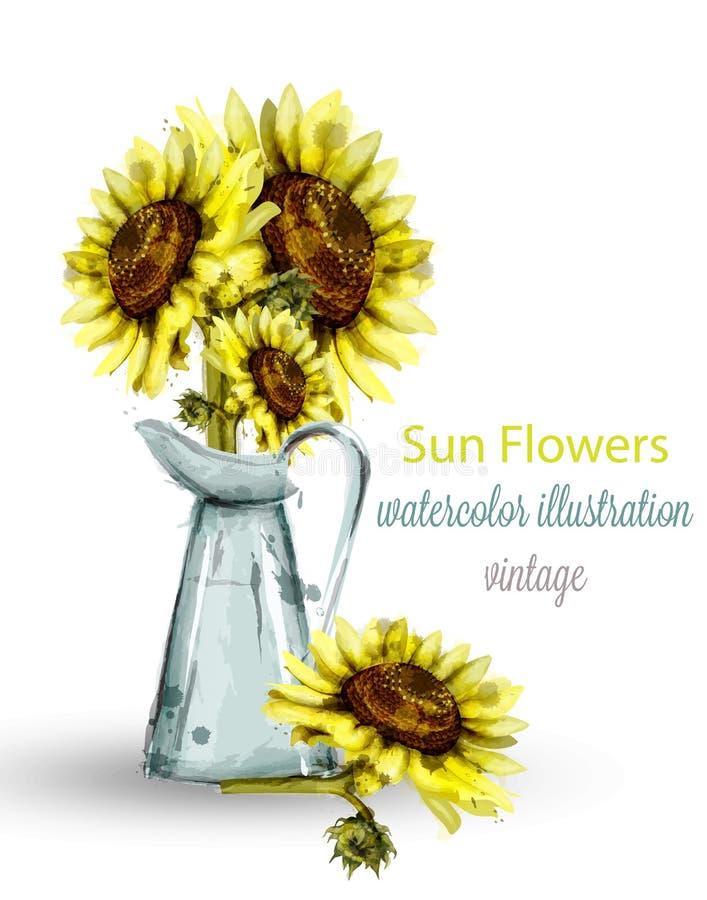 De waterverfvector van het zonnebloemenboeket Bloemen de lentedecoratie stock illustratie