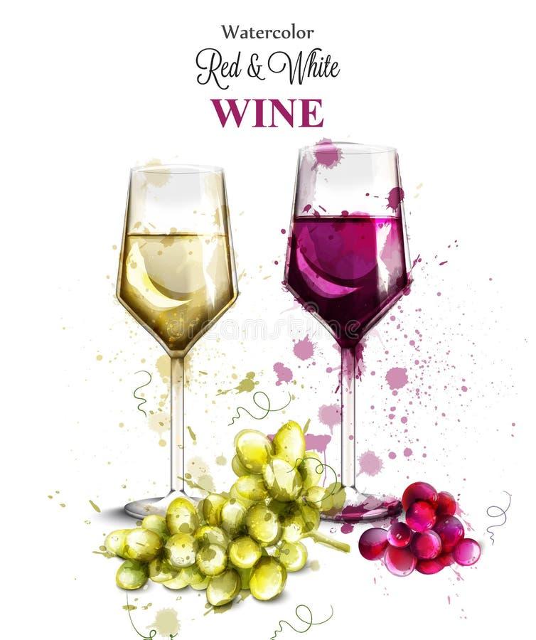 De waterverfvector van wijnglazen Wijnoogst geschilderde stijlillustraties royalty-vrije illustratie