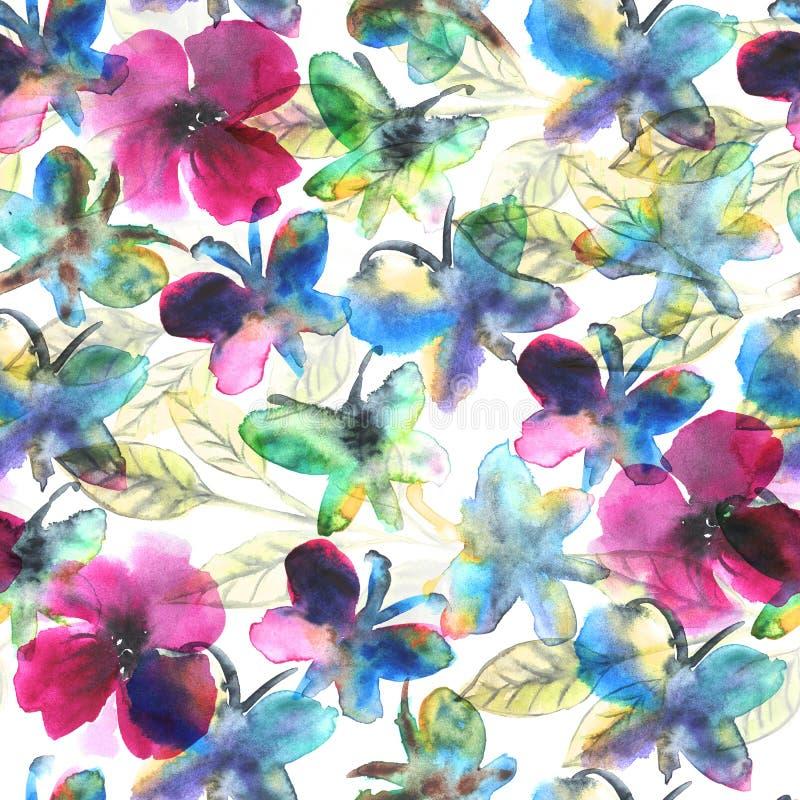 De waterverfvlinders in bloemen vatten naadloos patroon samen vector illustratie