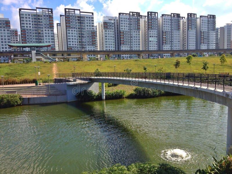 De Waterweg van Punggol, Singapore stock fotografie