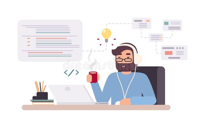 De web-ontwikkelaar werken aangaande laptop Horizontale banner met jonge programmeur op baan Kleurrijke vectorillustratie in vlak royalty-vrije illustratie