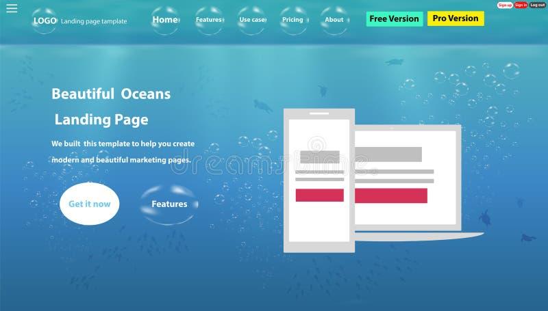 De webpagina van het Oceanenleven is een mooi ontvankelijk Landingspaginamalplaatje stock illustratie