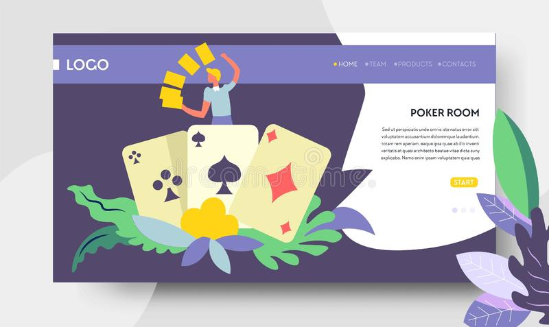 De webpagina van de pookruimte online casino en het gokken royalty-vrije illustratie