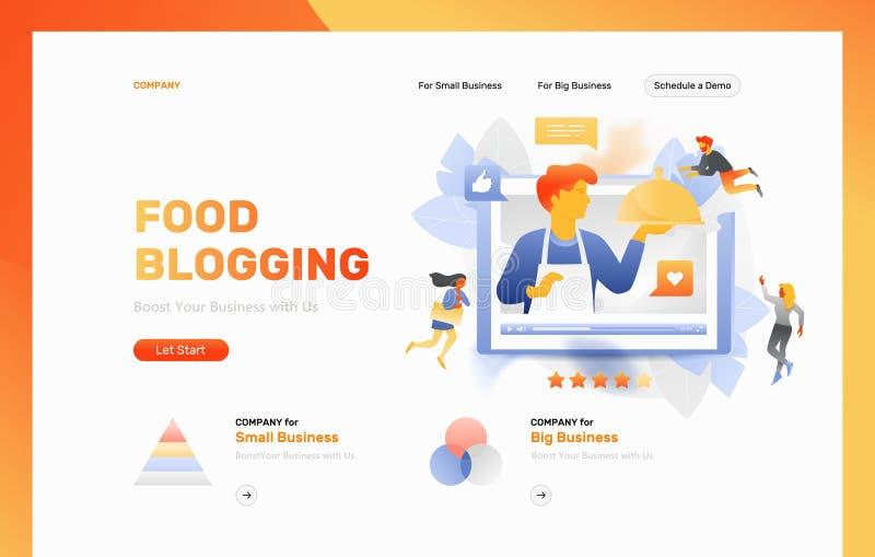 De Webpaginakopbal van voedselblogging stock illustratie