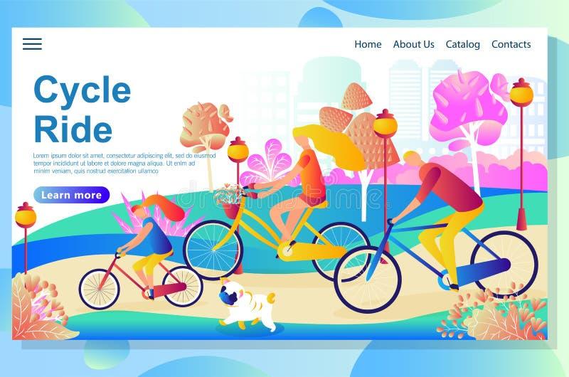 De webpaginaontwerpsjabloon toont Familie die de fietsen in het park berijden, die pret en gang met de kleine hond hebben royalty-vrije illustratie