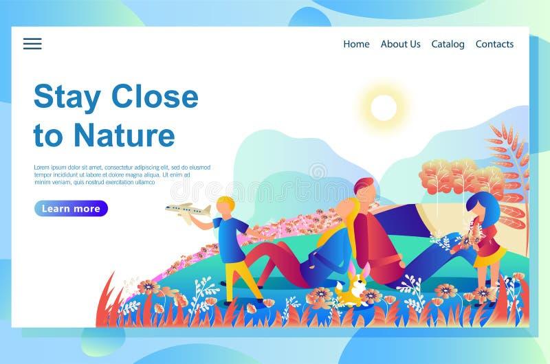 De webpaginaontwerpsjabloon toont familierust met de hond in de bergen Het spelen samen buiten het huis op het gazon stock illustratie
