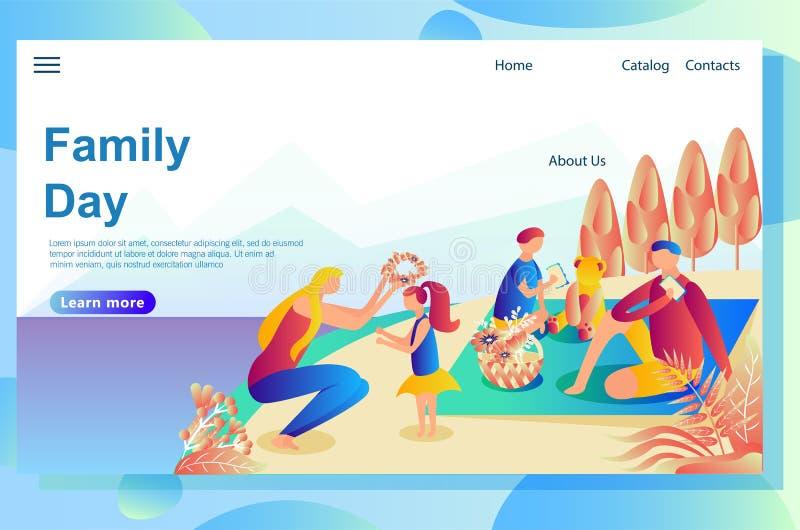 De webpaginaontwerpsjabloon toont familierust met de hond in de bergen Het spelen samen buiten het huis op het gazon vector illustratie