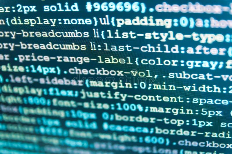 De website digitale pagina van het kunstontwerp HTML-Code inzake laptop het scherm Het abstracte scherm van van de softwarevirus  royalty-vrije stock fotografie