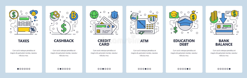 De website onboarding schermen Het beleggen en de financiële diensten, cashback, creditcard, ATM, belastingen Menu vectorbanner vector illustratie