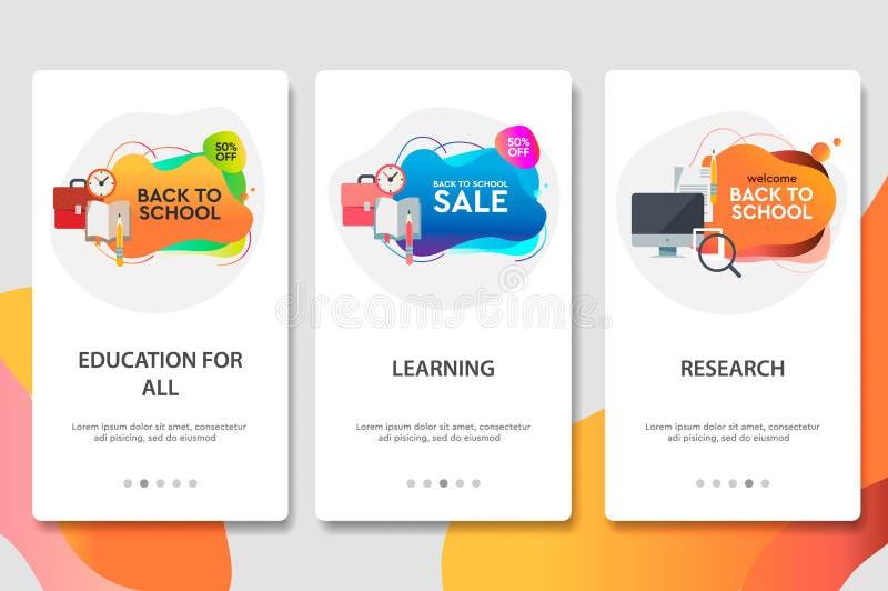 De website onboarding schermen Online Onderwijs De de digitale leerprogramma's en cursussen van Internet Malplaatje van de menu h vector illustratie