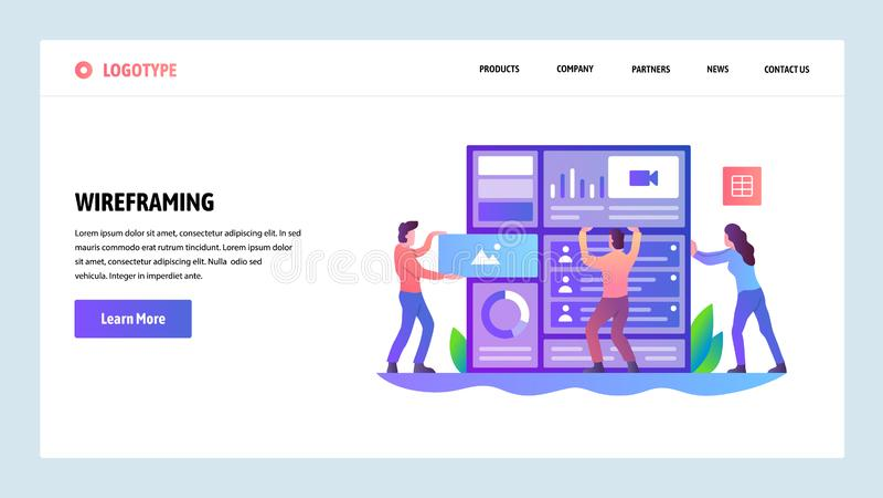 De website onboarding schermen De ontwikkelaars bouwen website wireframe interface Malplaatje van de menu het vectorbanner voor w royalty-vrije illustratie