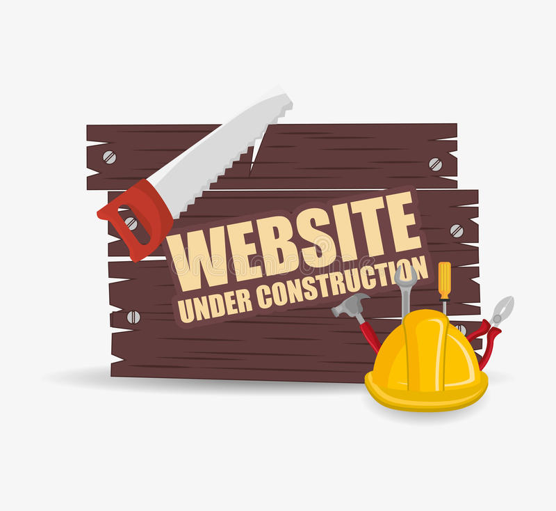 de website ontwerpt in aanbouw stock illustratie