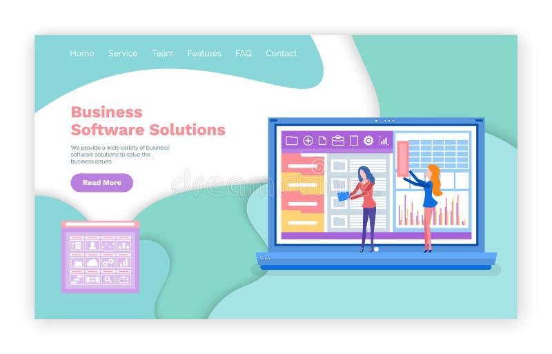 De Website van de bedrijfssoftwareoplossing en Tekstinformatie stock illustratie