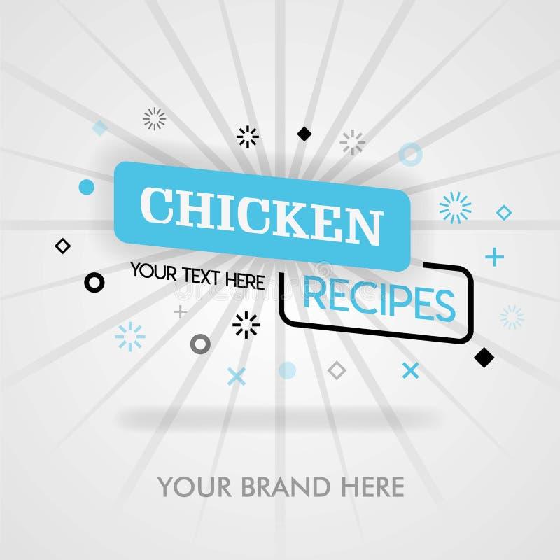 De website van kippenrecepten het geheime recept van de kippengrill Amerikaans Fried Chicken Cookbook kan voor bevordering, recla stock illustratie