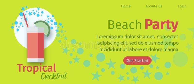 De Website Vlak Vectormalplaatje van de strand Tropisch Partij royalty-vrije illustratie