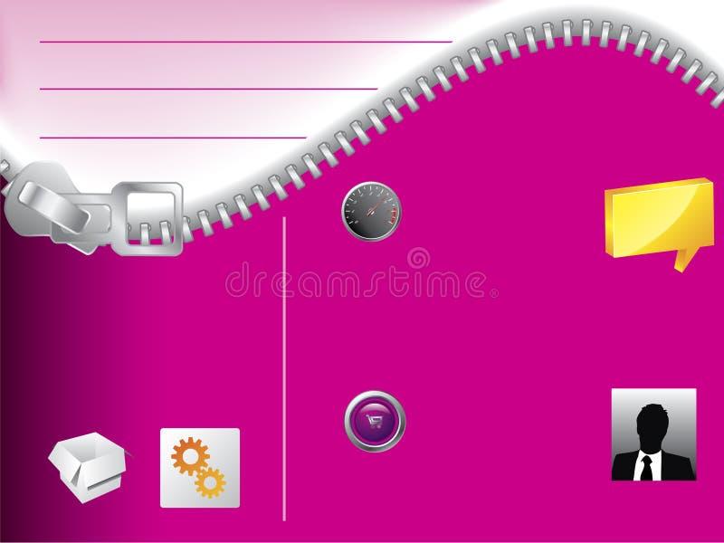 De websitemalplaatje van de ritssluiting royalty-vrije illustratie
