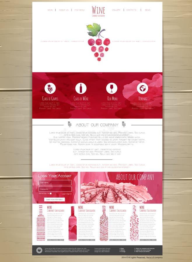 De websiteontwerp van het wijnconcept royalty-vrije illustratie