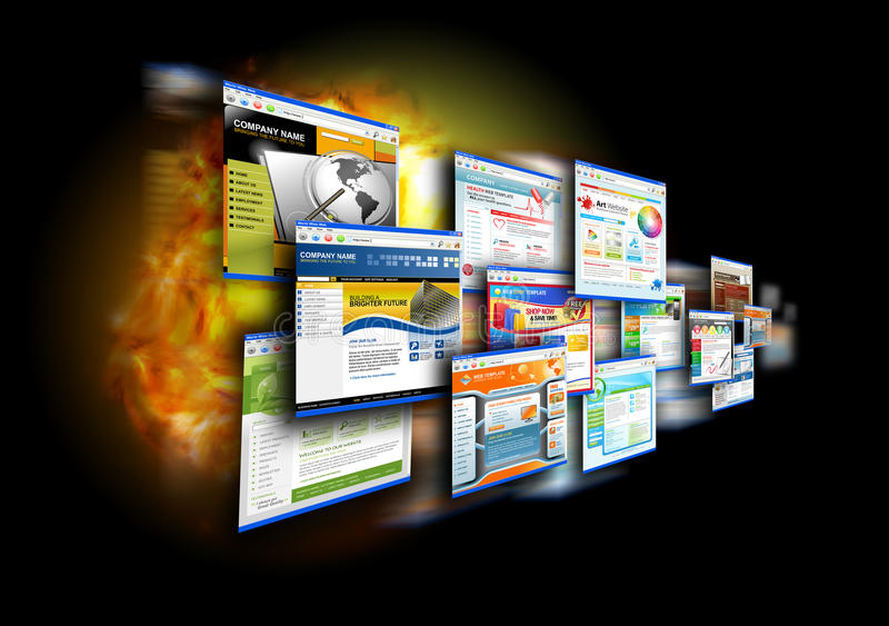 De Websites van de Snelheid van Internet op Zwarte stock foto's