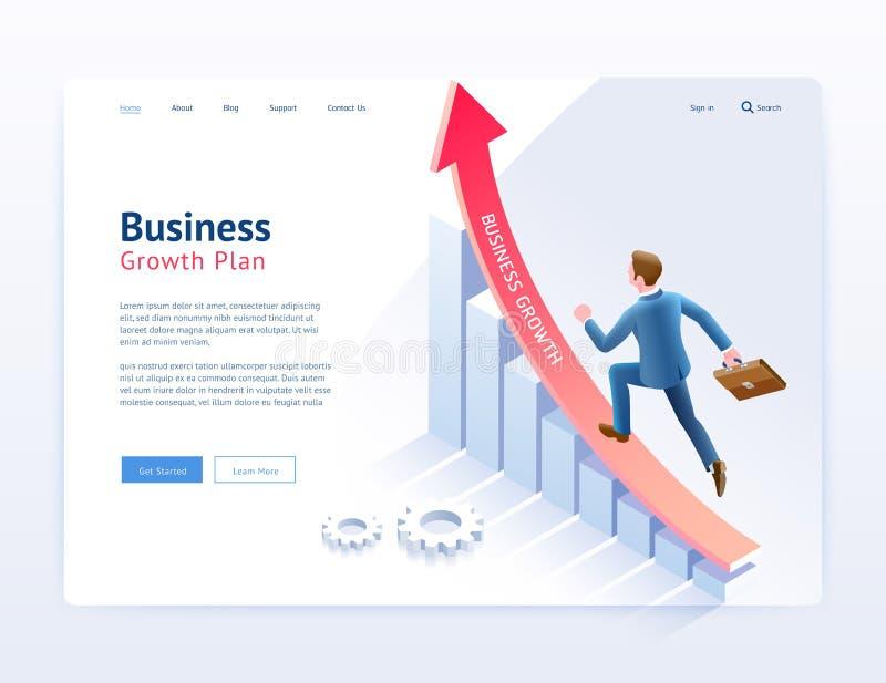 De websiteui/ux ontwerp van het bedrijfs de groeiplan Zakenman die op rode pijl en infographic isometrisch element lopen stock illustratie