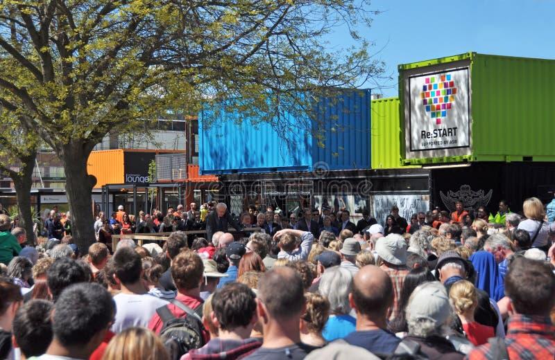 De Wederopbouw van Christchurch - Centrale Kleinhandels opent stock afbeeldingen