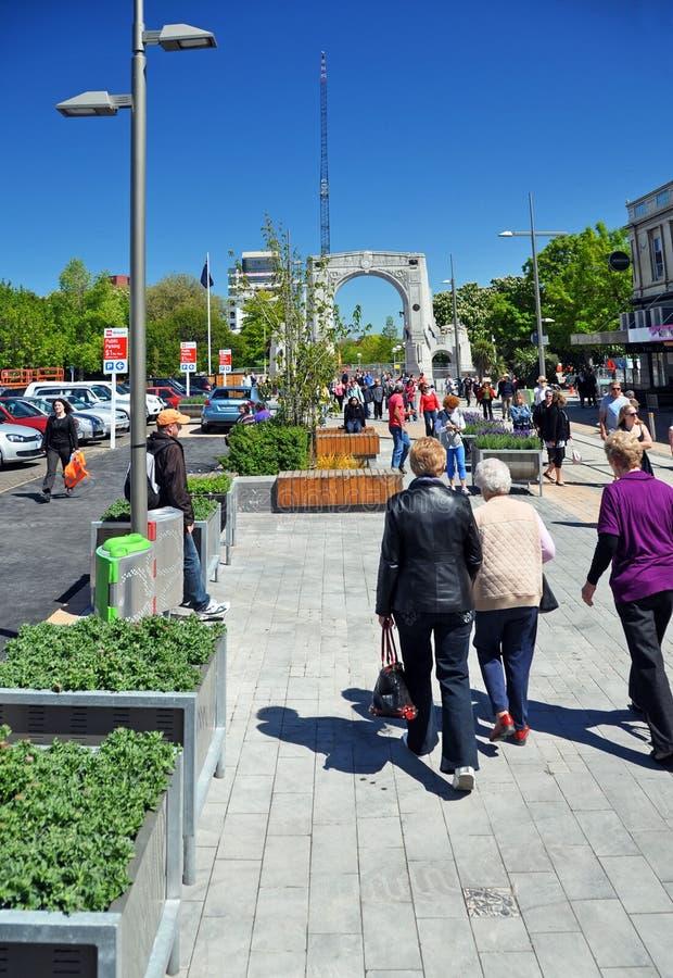 De Wederopbouw van Christchurch - de Wandelgalerij Cashel opent royalty-vrije stock foto's