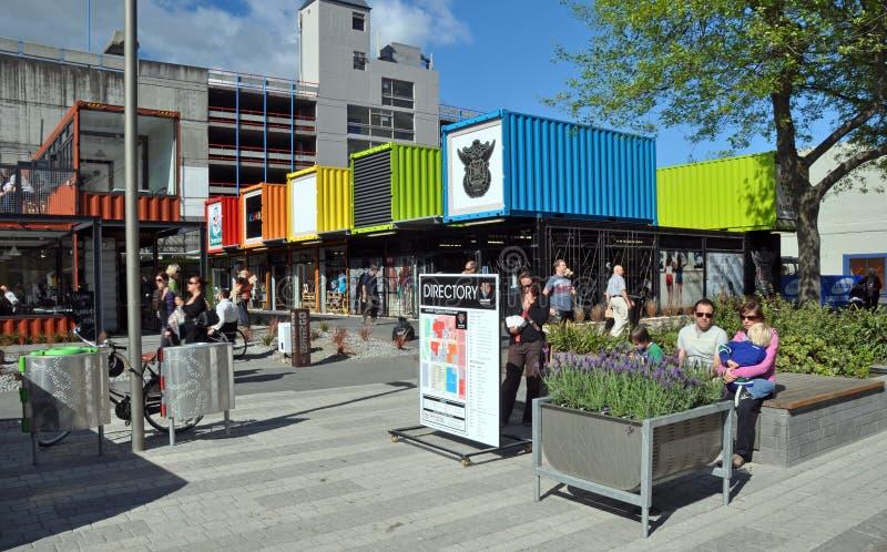 De Wederopbouw van Christchurch - de Winkels van de Container stock fotografie