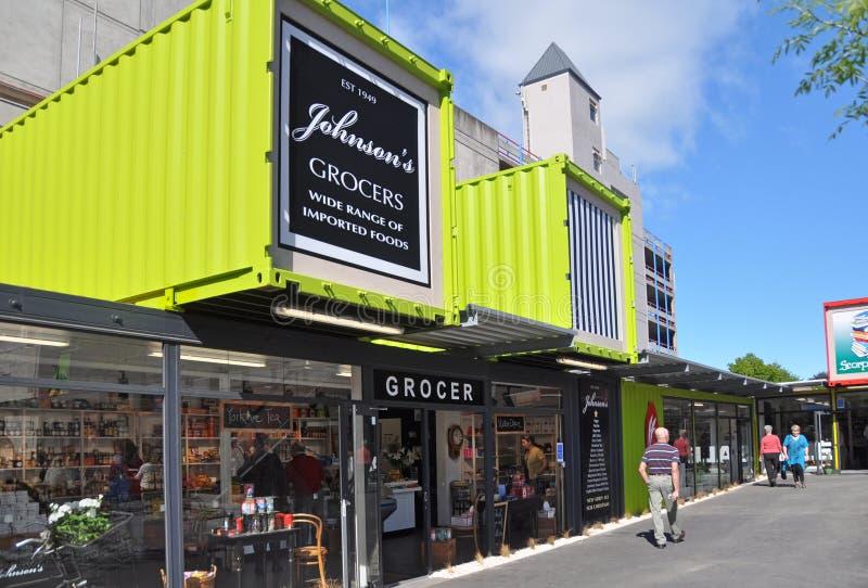 De Wederopbouw van Christchurch - Johnson heropent stock foto's