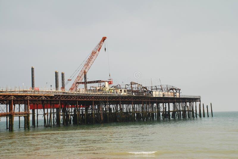 De wederopbouw van de Hastingspijler stock afbeelding