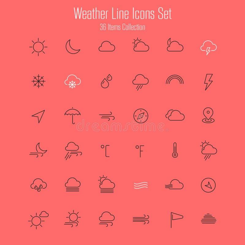 De weerlijn verdunt pictogrammen vector illustratie