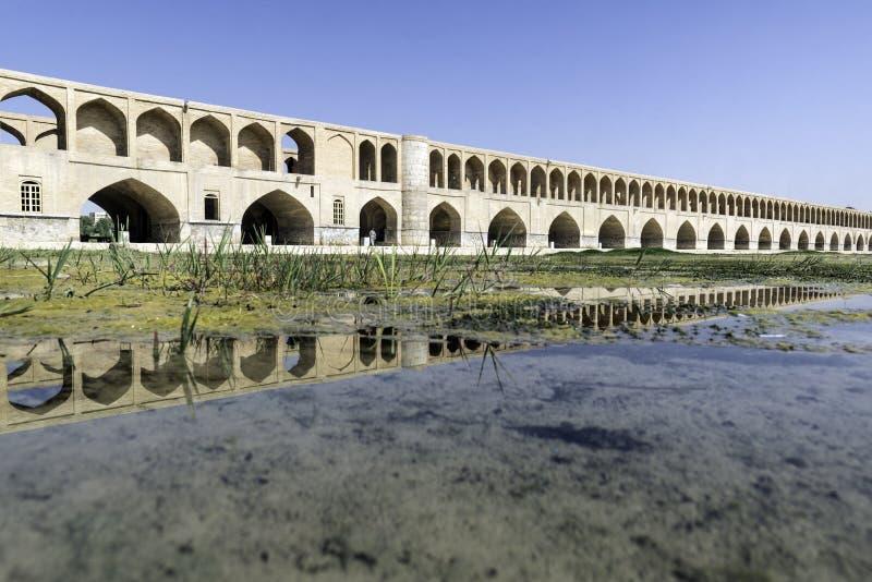 De weerspiegeling van Si-O pol. in Esfahan, Iran stock fotografie