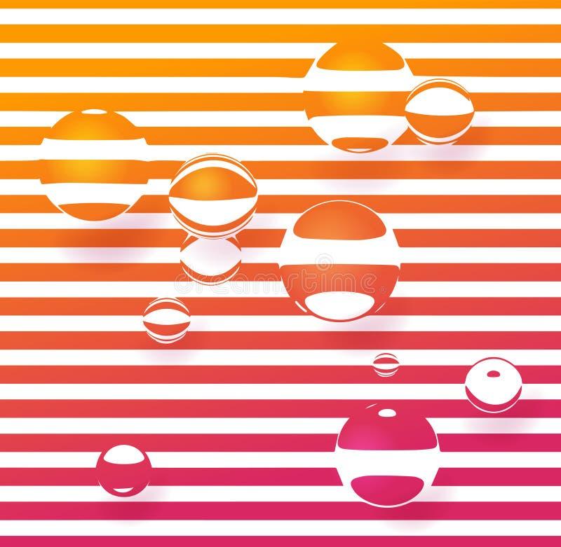 De weerspiegeling van de stroken in de glasvorm royalty-vrije illustratie