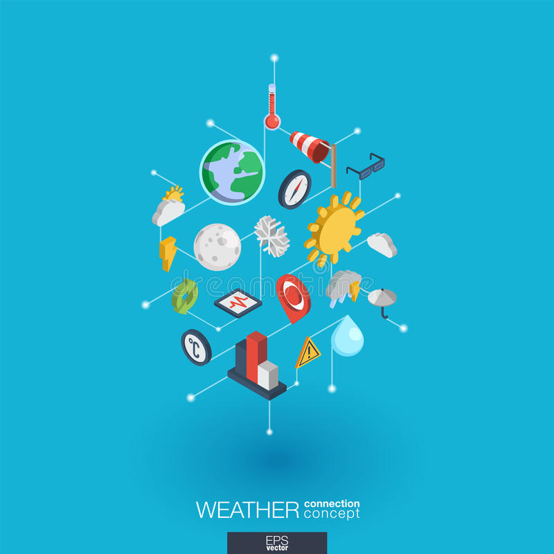 De weervoorspelling integreerde 3d Webpictogrammen Digitaal netwerk isometrisch concept royalty-vrije illustratie