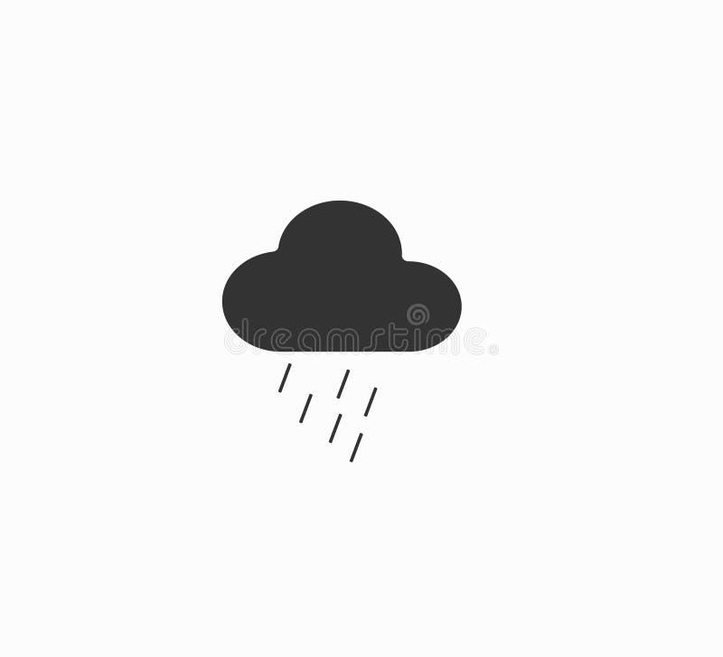 De weervoorspellingspictogram van Gray Vector - wolk en regen Regenachtig weer royalty-vrije illustratie