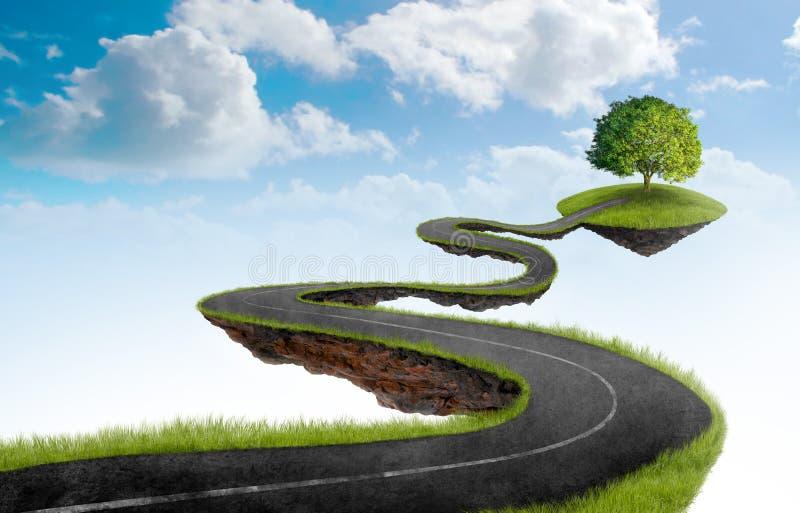 De weg aan boom royalty-vrije illustratie