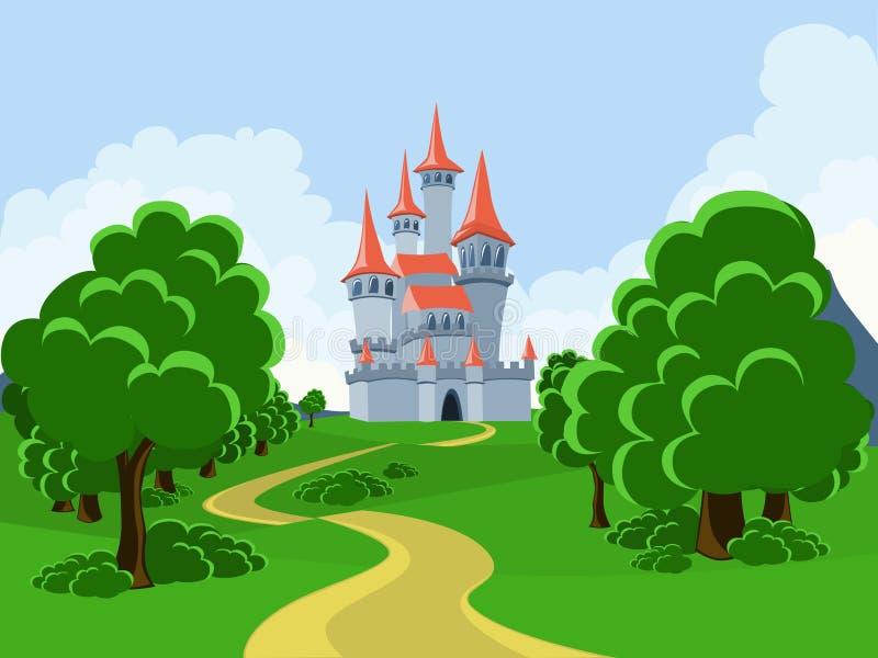 De weg aan het fairytalekasteel royalty-vrije stock afbeeldingen