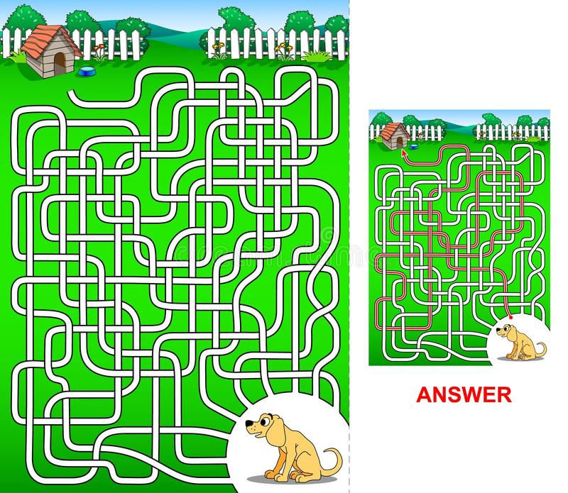De weg aan het hondhuis - labyrint voor jonge geitjes royalty-vrije illustratie