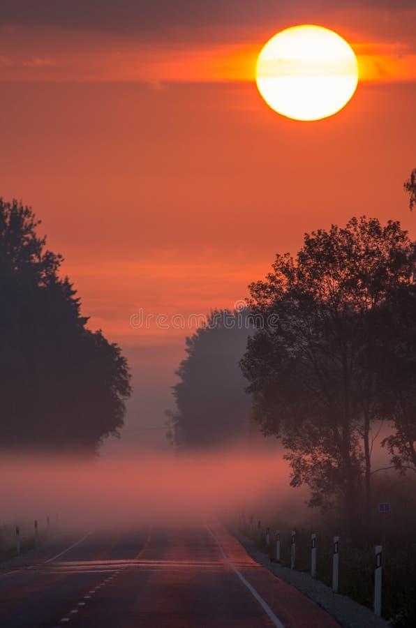 De weg aan de zonsopgang stock afbeeldingen