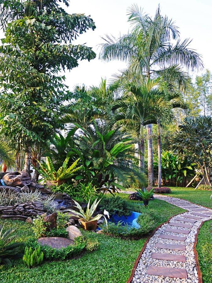 De weg in de tuin. stock foto