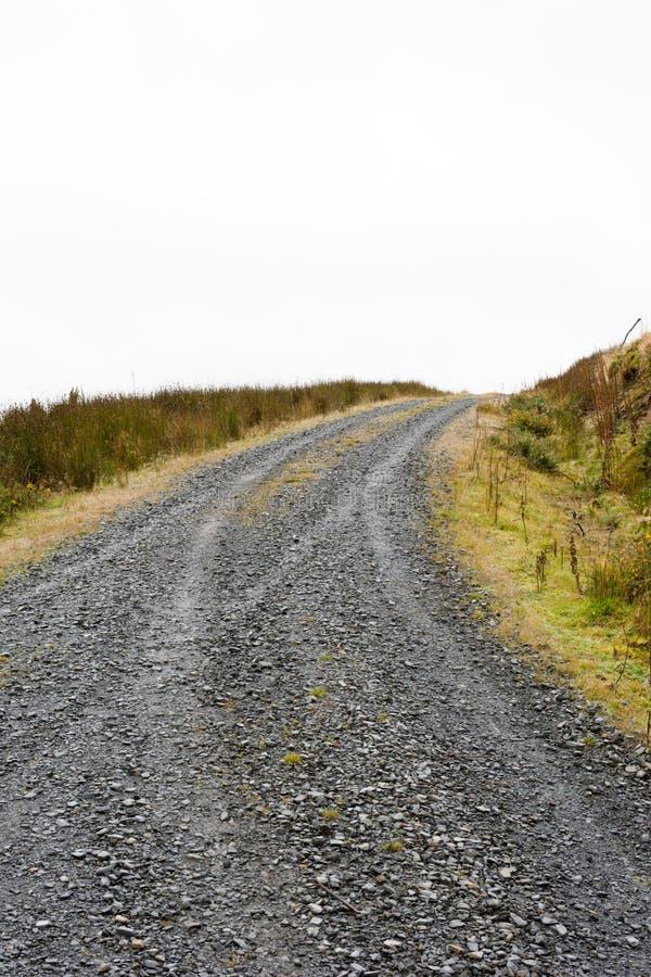 De weg in mist stock afbeelding