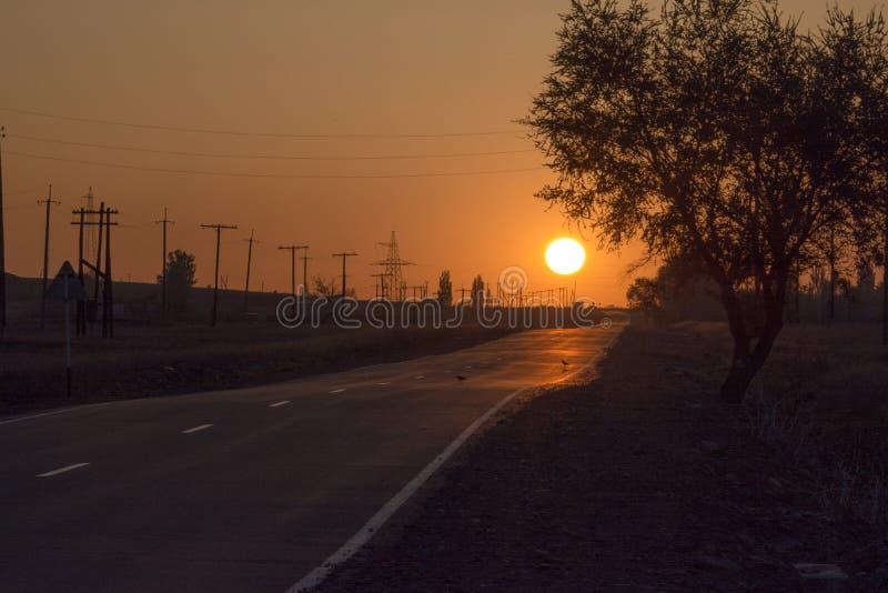 De weg in de mist Zonsondergang De zon stock afbeelding