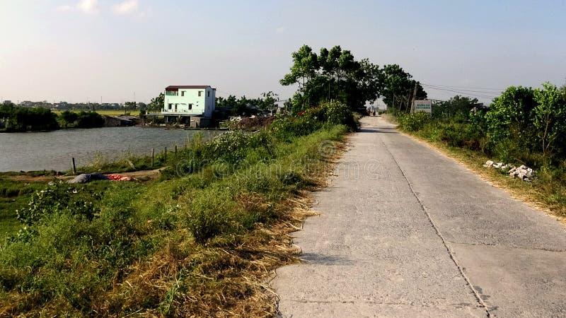 De weg op de dijk van het platteland in de middag is leeg stock foto