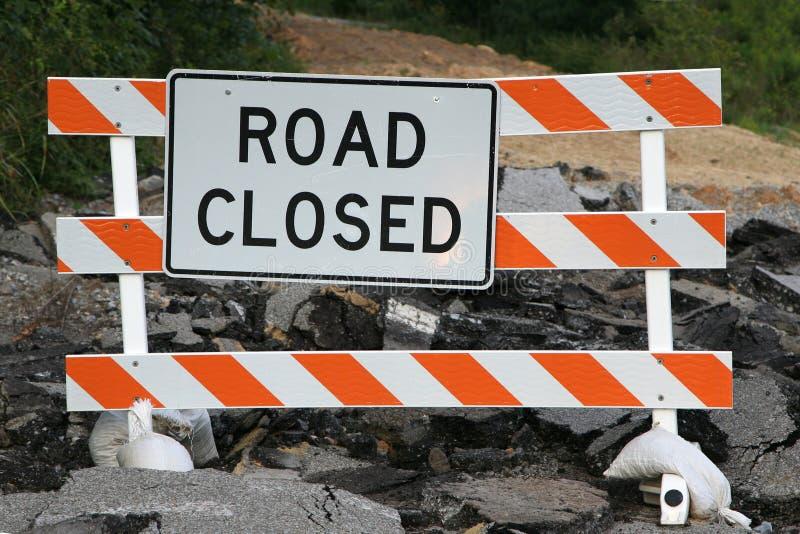 De weg sloot teken stock foto