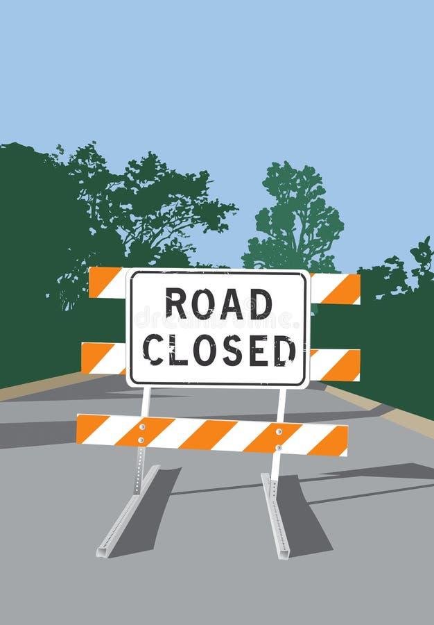 De weg sloot Teken vector illustratie
