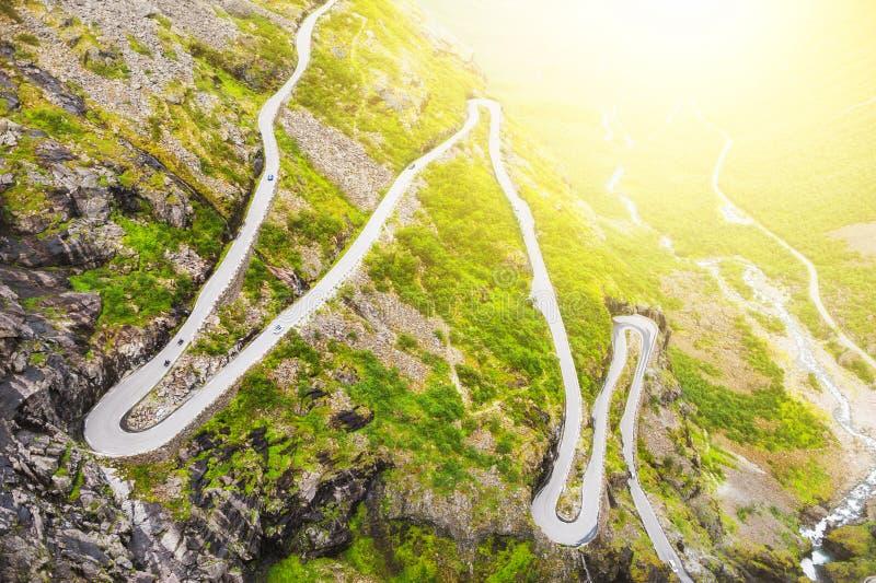 De weg Trollstigen van de sleeplijn in Noorwegen royalty-vrije stock fotografie