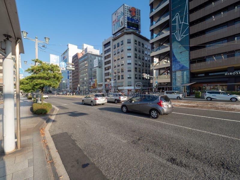 De weg van Aioidori, Hiroshima stock afbeeldingen