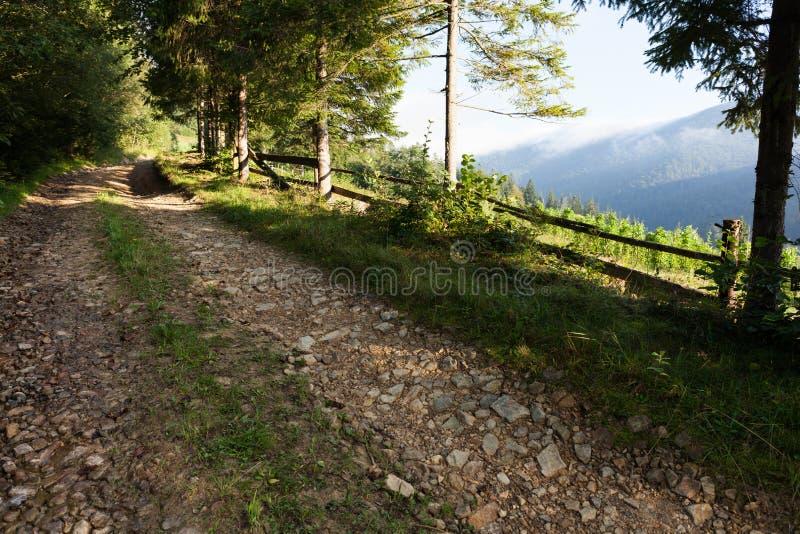 De weg van de avonturenberg, kleurrijk plattelandslandschap stock afbeelding