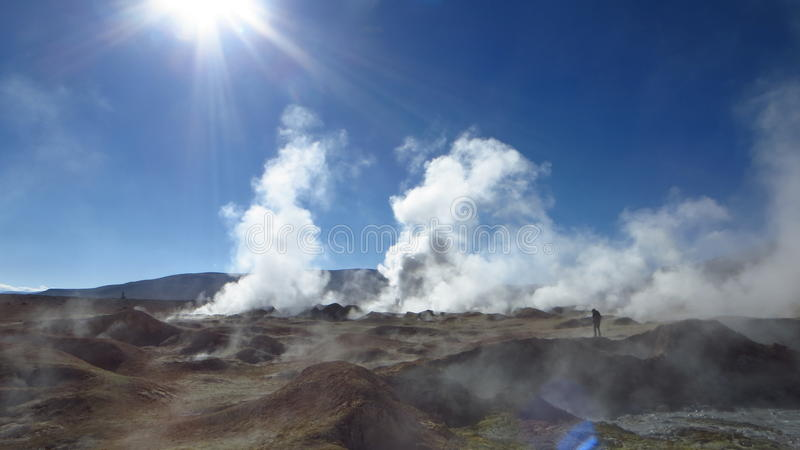 De weg van Bolivië aan de woestijn van Chili royalty-vrije stock foto