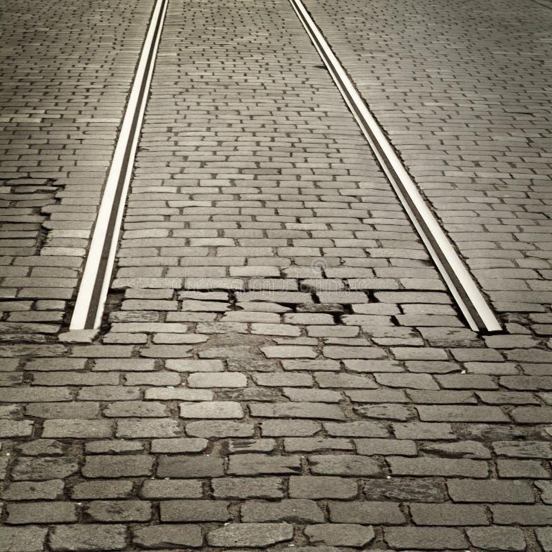 De weg van Cobbled stock foto's