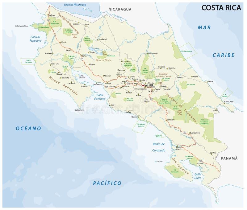 De weg van Costa Rica en nationalpark vectorkaart vector illustratie